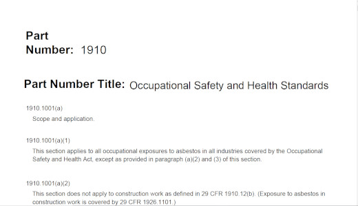 29 CFR 1910 1001 - Asbestos, Occupational Safety and Health